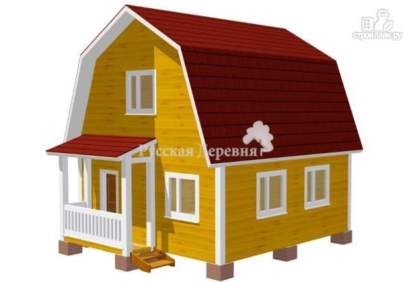 Фото 2: проект классический дом 6х6 с крыльцом 3х1