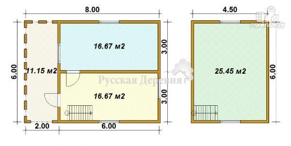 Фото 5: проект дачный дом 6х6 с террасой 2х6
