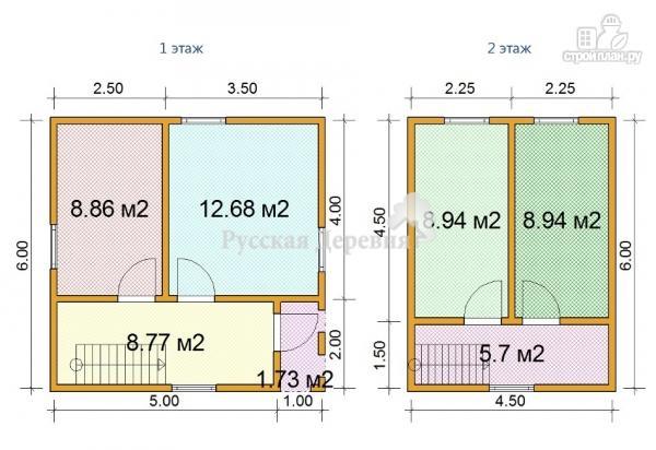 Фото 4: проект дом 6х6 с крыльцом 1х2 и мансардным этажом
