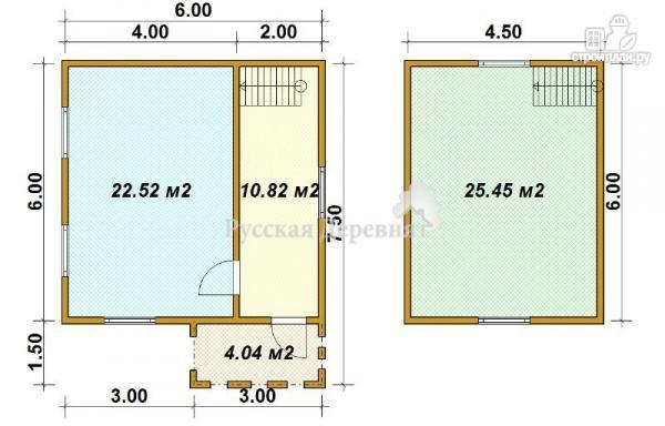 Фото 5: проект дом 6х6 с крыльцом 3х1,5