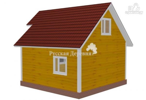 Фото 2: проект русская усадьба 6х6 с крыльцом 2х1 и балконом 2х1