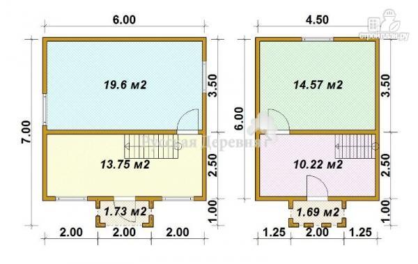 Фото 5: проект русская усадьба 6х6 с крыльцом 2х1 и балконом 2х1