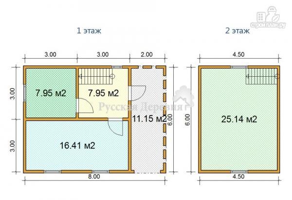 Фото 2: проект дом 6х6  из профилированного бруса с террасой 2х6 и мансардой
