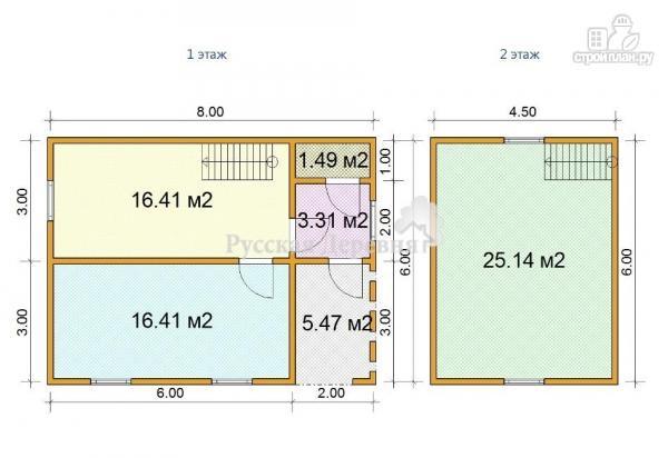 Фото 2: проект брусовой двухкомнатный дачный дом 6х6 с крыльцом 2х3 и мансардой