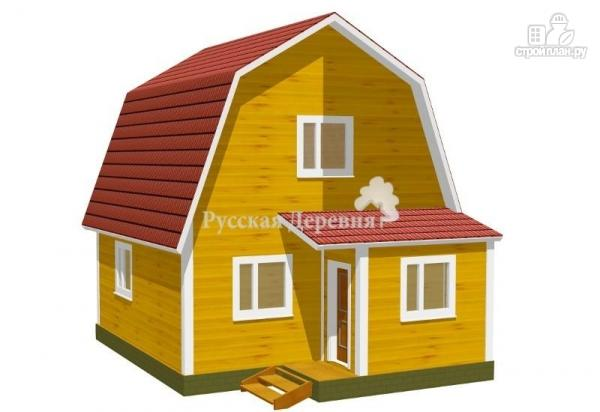 Фото: проект мансардный дачный дом 6х6 с крыльцом 1х1,5