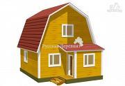 Проект мансардный дачный дом 6х6 с крыльцом 1х1,5