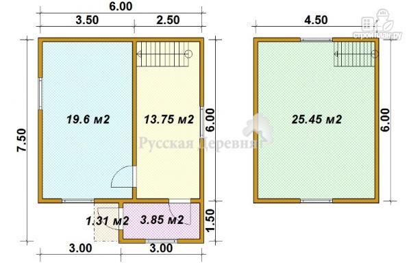 Фото 5: проект мансардный дачный дом 6х6 с крыльцом 1х1,5