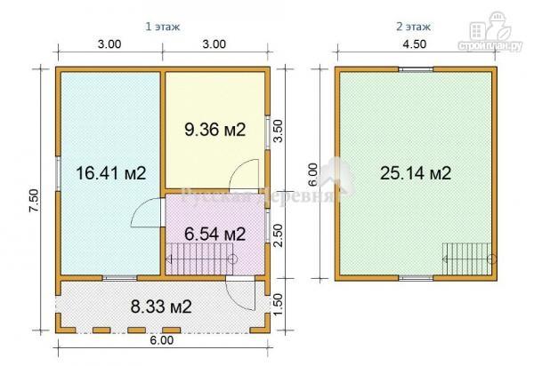 Фото 5: проект мансардный трехкомнатный дом 6х6 с террасой 6х1,5