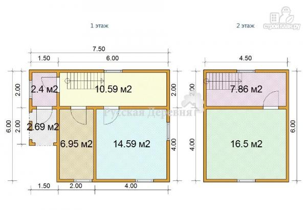 Фото 4: проект брусовой дом  6х6 с крыльцом 1,5х2
