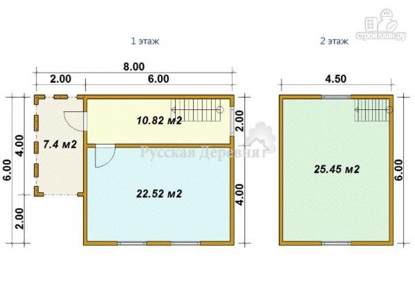 Фото 5: проект домик 6х6 с крыльцом 2х4 и мансардным этажом