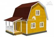 Проект мансардный дачный дом 6х6 с крыльцом 2х4