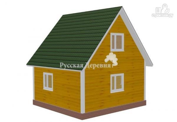 Фото 2: проект русский дом 6х6 с прямой крышей, крыльцом 4х1,5 и мансардой