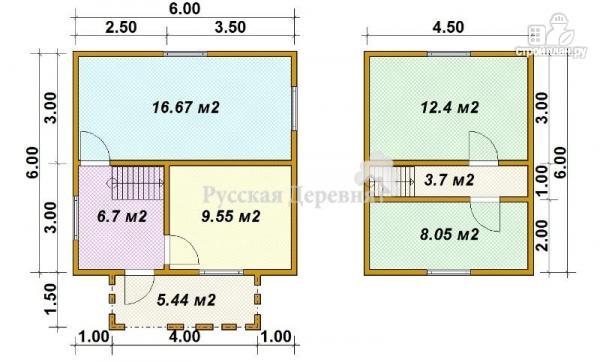 Фото 5: проект русский дом 6х6 с прямой крышей, крыльцом 4х1,5 и мансардой