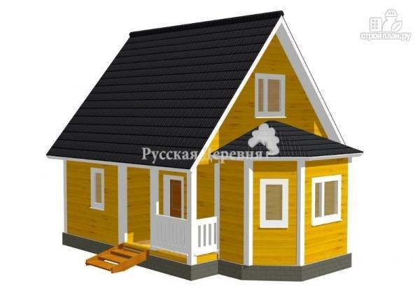 Фото: проект загородный дом 6х6 с эркером и крыльцом 1х3
