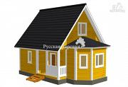 Фото: загородный дом 6х6 с эркером и крыльцом 1х3