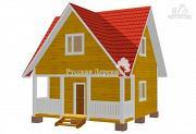 Проект загородный трехфронтонный дом 4,5х6 с мансардой и террасой 1,5х6