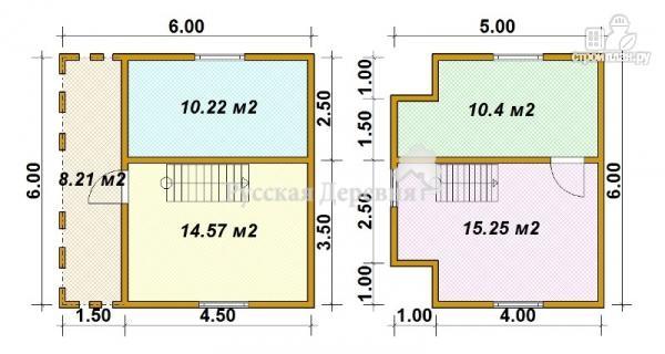 Фото 5: проект загородный трехфронтонный дом 4,5х6 с мансардой и террасой 1,5х6