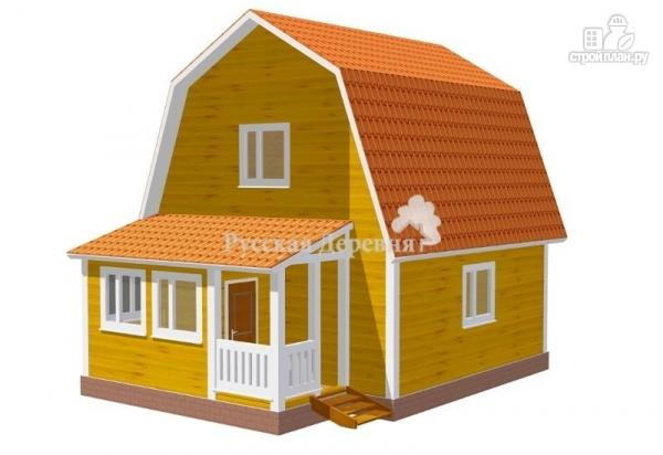 Фото: проект загородный мансардный дом 6х6 с крыльцом 1х2