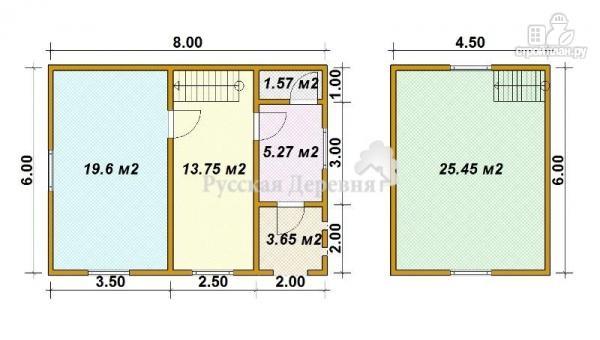 Фото 5: проект дом загородный 6х6 с крыльцом и  мансардой