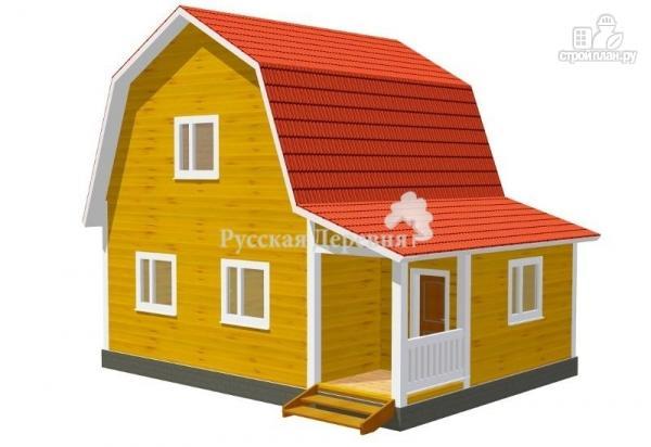Фото: проект дом загородный 6х6 с крыльцом и  мансардой