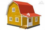 Фото: дом загородный 6х6 с крыльцом и  мансардой