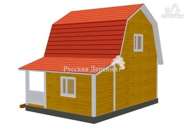 Фото 2: проект дом загородный 6х6 с крыльцом и  мансардой