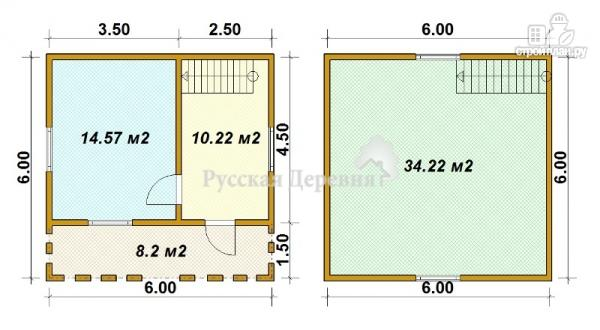 Фото 5: проект загородный мансардный дом 6х4,5 с террасой 6х1,5