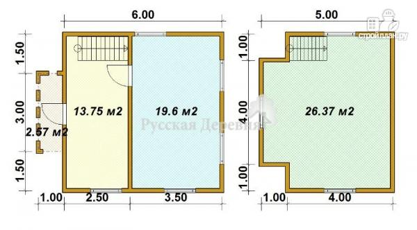 Фото 5: проект дом трехфронтонный  6х6 с крыльцом 1х3 и мансардой