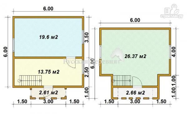 Фото 5: проект трехфронтонный мансардный дом 6х6 с крыльцом 3х1 и балконом