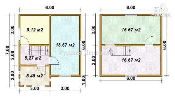 Фото 5: проект классический загородный дом 6х6 с крыльцом 3х2, полтора этажа в брусе