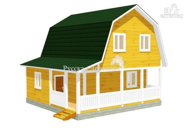 Фото: проект дом с террасой, сенями и мансардой