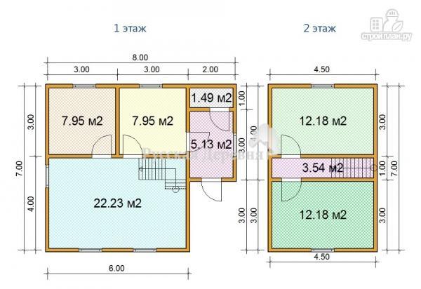 Фото 4: проект дом из профилированного бруса 6х7 с верандой 2х3 и каркасным мансардным этажом