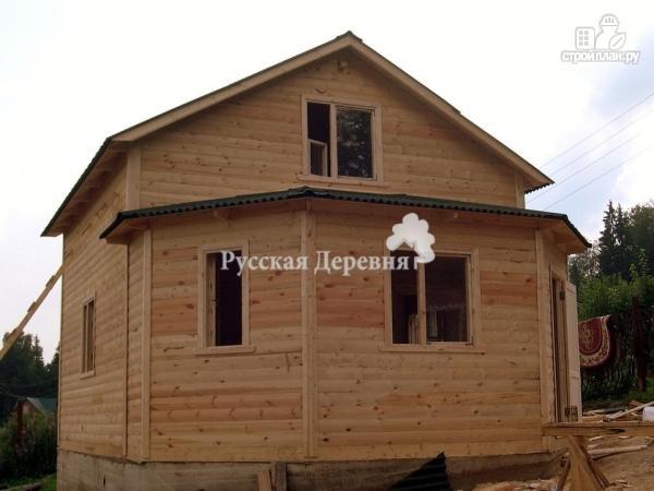 Фото 2: проект дом 6х6 с эркерной верандой 6х2,5 и брусовой мансардой