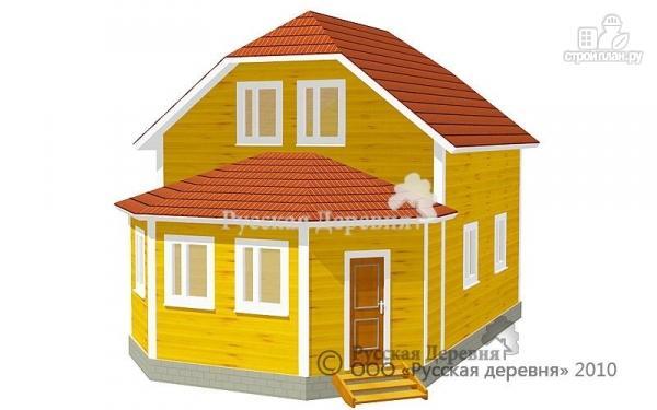 Фото: проект дом 6х6 с эркерной верандой 6х2,5 и брусовой мансардой