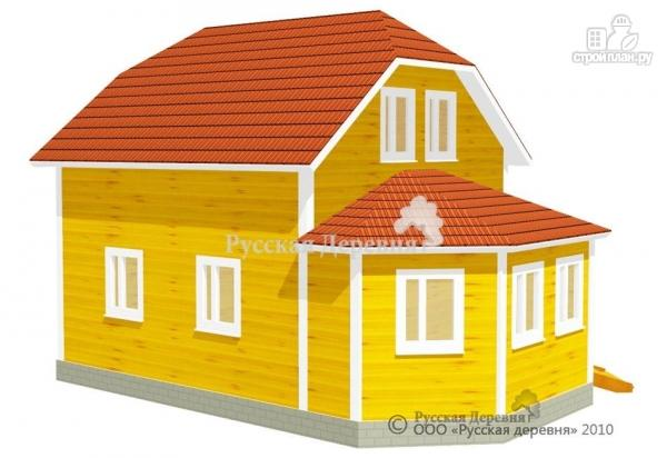 Фото 4: проект дом 6х6 с эркерной верандой 6х2,5 и брусовой мансардой
