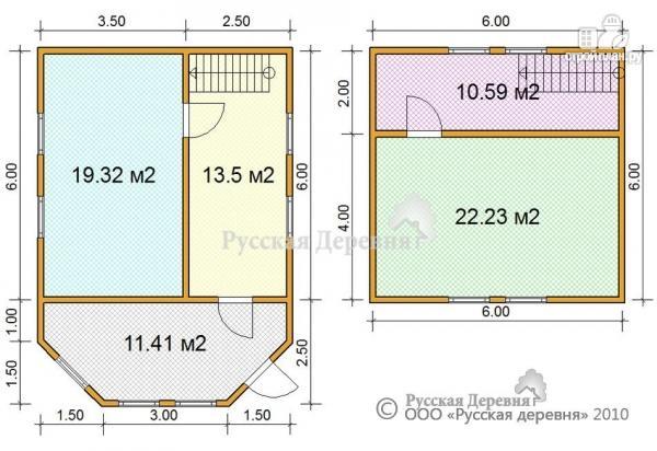 Фото 3: проект дом 6х6 с эркерной верандой 6х2,5 и брусовой мансардой