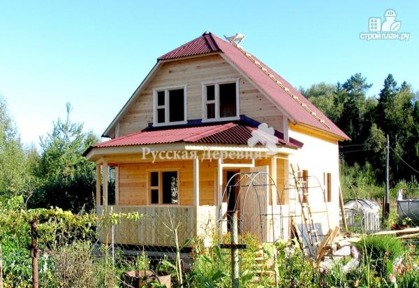 Фото 2: проект дачный дом с эркерной террасой 4.5х2.5 и крыльцом 1.5х2.5, брусовая мансарда