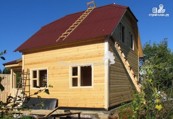 Фото 5: проект дачный дом с эркерной террасой 4.5х2.5 и крыльцом 1.5х2.5, брусовая мансарда
