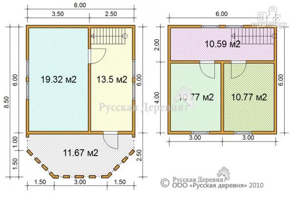 Фото 4: проект дачный дом с эркерной террасой 4.5х2.5 и крыльцом 1.5х2.5, брусовая мансарда