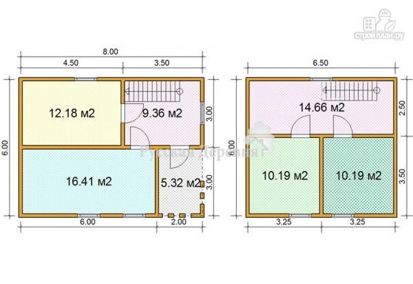 Фото 5: проект брусовой дом 6х8 с каркасной мансардой