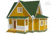 Проект четырехфронтонный загородный дом 6х6 с эркером 4х2, крыльцом 1,5х4 и мансардой
