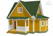 Фото: четырехфронтонный загородный дом 6х6 с эркером 4х2, крыльцом 1,5х4 и мансардой