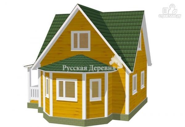 Фото 3: проект четырехфронтонный загородный дом 6х6 с эркером 4х2, крыльцом 1,5х4 и мансардой