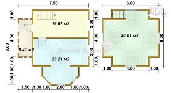 Фото 6: проект четырехфронтонный загородный дом 6х6 с эркером 4х2, крыльцом 1,5х4 и мансардой