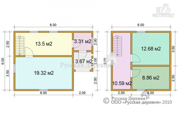 Фото 5: проект двухэтажный брусовой дом 6х6 с крыльцом 2х2