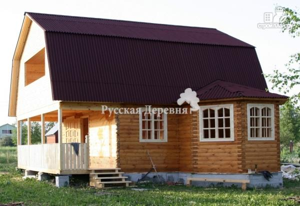 Фото 5: проект дачный дом с эркером, террасой, балконом и мансардой