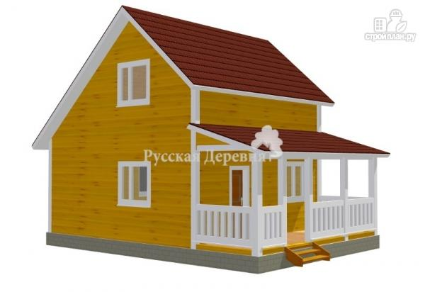 "Фото: проект дом 6х6 с террасой 2х6, мансардой и ""кукушкой"""