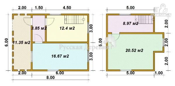 "Фото 6: проект дом 6х6 с террасой 2х6, мансардой и ""кукушкой"""