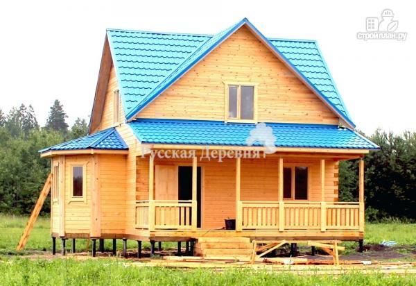 Фото 2: проект дом 6х7 с эркером 2х4 и террасой 2х7, брусовая мансарда