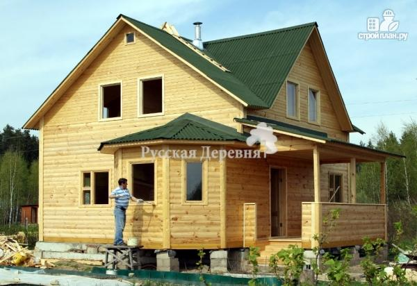 Фото 7: проект дом 6х7 с эркером 2х4 и террасой 2х7, брусовая мансарда